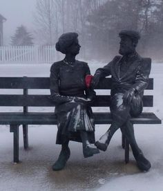 Awww…still in love! These are the statues of Alexander Graham Bell and his wife, Mabel, in Baddeck, Nova Scotia, Canada photo by Simone Carmichael