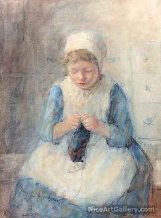 girl knitting << knitter portrait art