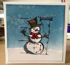 Tim Holtz Snowman Mini Blueprint card