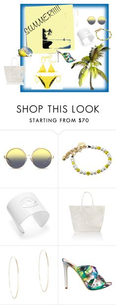 """""""Summer"""" by eyefordetail on Polyvore featuring Post-It, Matthew Williamson, Venessa Arizaga, Tory Burch, Seafolly, Lana Jewelry and GUESS"""