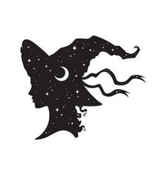 Silhouette of beautiful witch girl in pointy hat vector Witch Silhouette, Pagan Symbols, Witch Tattoo, Beautiful Witch, Halloween Silhouettes, Halloween Vector, Magic Hat, Vintage Witch, Witch Art