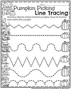 Preschool Worksheets for October - Pumpkin Picking Line Tracing.