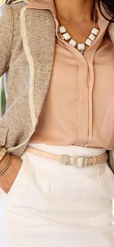 White pants or skirt, beige jacket with soft pink blouse.
