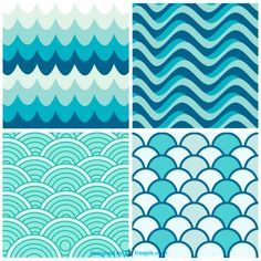Water waves retro patterns | Download free Vector