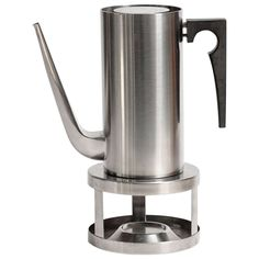 Cylinda Coffee Pot and Stove by Arne Jacobsen for Stelton | From a unique collection of antique and modern more dining and entertaining at https://www.1stdibs.com/furniture/dining-entertaining/more-dining-entertaining/