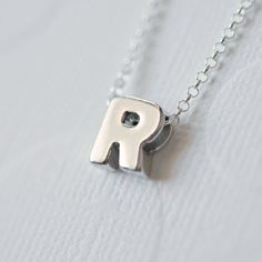 Sterling silver initial necklace #littleglamour #personalized #necklace Letter Pendants, Initial Pendant, Sterling Silver Initial Necklace, Sterling Silver Chains, Jewelry Shop, Custom Jewelry, Jewelry Cleaning Solution, Cleaning Silver Jewelry, Letter Necklace