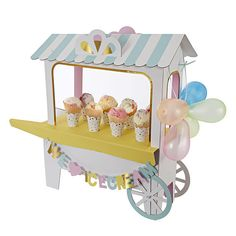A great display for an ice cream themed party, this stand is styled like a traditional ice cream cart and comes with a host of accessories including balloons, We Love Ice Cream garland and ice cream wrappers. Swap out the cone holder for the solid (no holes) base to accommodate ice