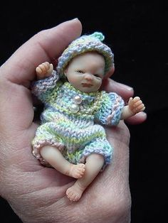 """OOAK MINIATURE 2.75 INCH POLYMER CLAY SCULPTED BABY GIRL POSEABLE ART DOLL  Sweet Baby """"Daria"""" handsculpted by Brenda"""