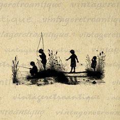 Children Fishing Silhouette Graphic Digital Printable Boy Girl Fish Download Image Artwork Antique Clip Art HQ 300dpi No.3271