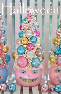 Pink Cat HalloWeeN Bottle Brush Tree glass ornaments garland Shabby Chic bottlebrush spooky creepy.  via Etsy.