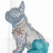 French Bruno by J. French Bulldog, Dinosaur Stuffed Animal, Swarovski, Butterfly, Sculpture, Crystals, Dogs, Personality, Blue