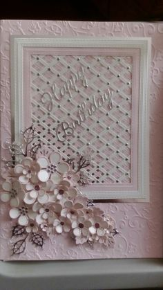 Sue Wilson shadow box lattice, lacy leaves and open and closed camelia flowers made for friend's birthday