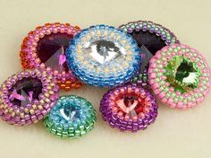 How to Make an Open Back Peyote Bezel on Artbeads.com. Also includes a link to pdf with reference info on the number of seed beads needed for rivolis of different sizes.