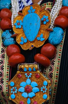 India | Traditional Ladakhi Jewelry Details | © Nevada Wier/Corbis