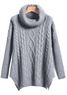 Shop Grey High Neck High-Low Cable Knit Sweaterater online. Sheinside offers Grey High Neck High-Low Cable Knit Sweaterater & more to fit your fashionable needs. Free Shipping Worldwide!
