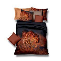 Čierne posteľné obliečky s veľkým leopardom