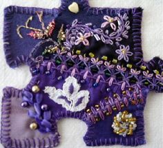 I ❤ crazy quilting, beading & embroidery . . . My name is Ira Rosenshtein. I want to send to you the pictures of puzzle pieces that I did for Pat Winter's Puzzle swap.