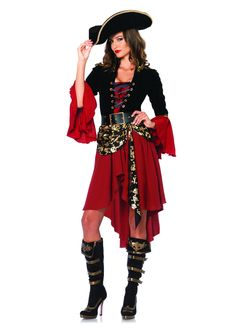 Pirates are always a popular costume choice. Why not stand out from the crowd with this super stylish pirate from Leg Avenue? It comes complete with the fashionable high/low dress, skull sash, and bel