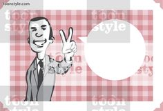 Greeting card with businessman showing victory sign – personalize your card with a custom text