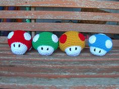 Crocheted Mario Mushrooms