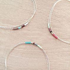 Minimalist Delicate Bracelet with Tiny Beads // Thin Colorful Silver Bracelet // Multicolor Boho Friendship Bracelet