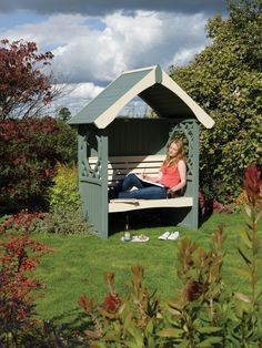 The 'Britania' Arbour from Rowlinson is perfect for a lazy afternoon in the garden.