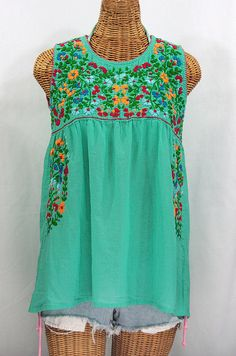 Mexican Peasant Top Blouse Sleeveless Hand by Sirenology on Etsy