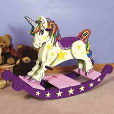 Unicorn Rocking Horse DIY Woodcraft Pattern - A wonderful weekend project! Exclusive, keepsake rocking horse is popular at craft shows; cherished by grandchildren. x x Pattern by Sherwood Creations Unicorn Rocking Horse, Rocking Horse Plans, Rocking Horses, Woodworking Projects That Sell, Woodworking Patterns, Horse Pattern, Pattern Art, Wooden Rocker, Do It Yourself Inspiration