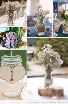 Idées déco mariage pas cher, centre table pot verre et fleurs