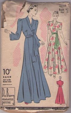 DuBarry 2270B Vintage 30's Sewing Pattern ELEGANT Full Flared Skirt Ginger Rogers Starlet Dressing Gown, House Coat, Lounge Robe #MOMSPatterns