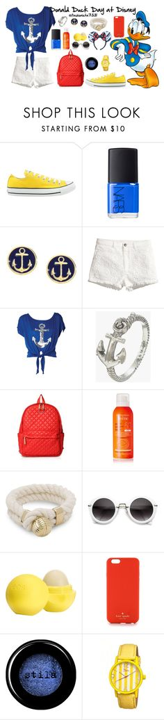 """""""Donald Duck Day at Disney"""" by fashionista7331 ❤ liked on Polyvore featuring Converse, NARS Cosmetics, Brooks Brothers, H&M, Zoe & Morgan, M Z Wallace, Avène, Sperry, Eos and Disney"""