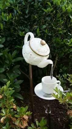 Garden art ,decor tea pot &cup