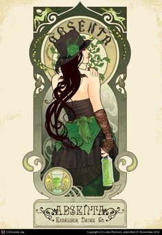 Absenta by Alecrim Alphonse Mucha, Vintage Posters, Vintage Art, Deviant Art, Fairy Costume Diy, Green Fairy Absinthe, Carpe Diem, Dark Artwork, Colorful Drawings