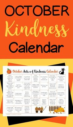This October Acts of Kindness calendar is a fun way to teach kids generosity and caring. It's full of suggestions based on special observances during October. Kindness Projects, Kindness Activities, Autumn Activities, Kindness Ideas, Family Activities, Service Projects For Kids, Service Ideas, National Holiday Calendar, Kids Calendar