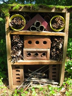 Bug Hotel, something the kids can make. Garden Bugs, Garden Insects, Love Garden, Bug Hotel, Outdoor Learning, Outdoor Play, Beautiful Gardens, Beautiful Flowers, Blueberry Plant