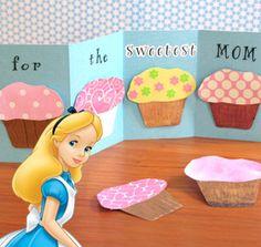 Alice in wonderland cupcake card