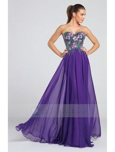 A-line Floral Embroidered Bodice Soft Chiffon Skirt Purple Long Prom Dress