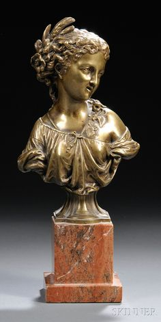 Continental School, 19th/20th Century - Classical-style Bronze Bust of a Maiden.