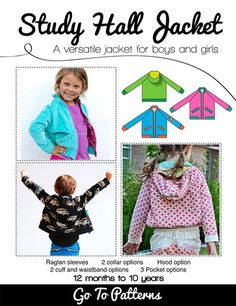 Study Hall Jacket sewing pattern by Andrea Pannell for Go To Patterns | The best sewing patterns for women, girls, toys and more. Go To Patterns & Co.