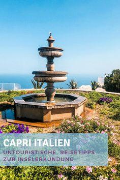 Untouristische Tipps für die italienische Insel. Erkundet sie auf eigene Faust! #capri #italien #italienreise Reisen In Europa, Fountain, Hotels, Box, Outdoor Decor, Capri Italy, Vacation Package Deals, Water Well, Boxes