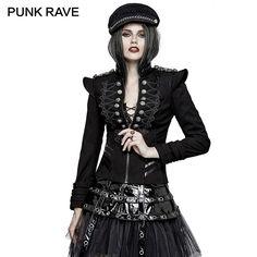 PUNK RAVE Punk Rock Autumn Plate Buckles Gothic Military Uniform Short Jackets S