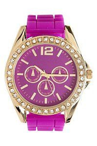 Purple And Gold Rhinestone Rubber Watch | Shop All Accessories