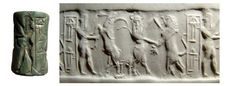 "Akkadian cylinder seal, green Jasper, Late Akkadian, 2300-2200 B.C. With a contest scene involving a bull man with full face engaged to a lion and a water buffalo in conflict with a bearded hero, his head to right, name of seal owner ""Bubu"" next to scene, 2.9 cm long. Private collection"