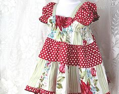 Cottage Chic Baby Dress Size 6 9 12 or 18 month Baby Easter Dress Red Rose & Polka Dot Boutique Baby Girl Clothes Spring Cotton Baby Clothes