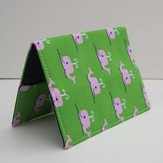 Passport Cover Case Holder  Pink Whales on Green by BaffinBags, $8.00