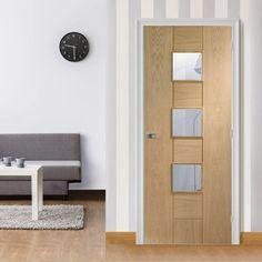 Bespoke Messina Oak Glazed Door.  #bespokeoakdoors #oakinteriordoor #madetosizedoor