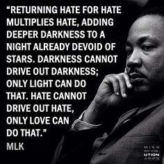 No good can spawn from hate/violence. Preach it MLK