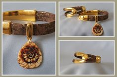 Gold and Brown Portuguese Cork. Half Cuff Shell Charm Bracelet & Wishbone Clasp http://sisters-cc-zj.com/   http://sisters-cc-zj.com/