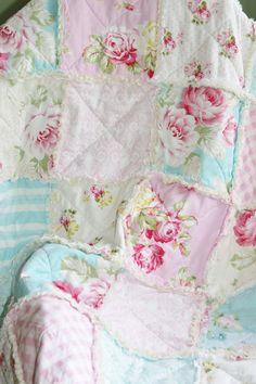Crib Rag Quilt Baby Girl Crib Bedding Shabby Chic Nursery Sunshine Roses Tanya Whelan Ready to