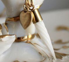 Love Letter Antique 1930s Vintage Milk Glass Pen Nib Necklace by SirensSoul